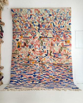 Tapis berbère Beni Ouarain écru à petits motifs colorés 3,02x2,08m
