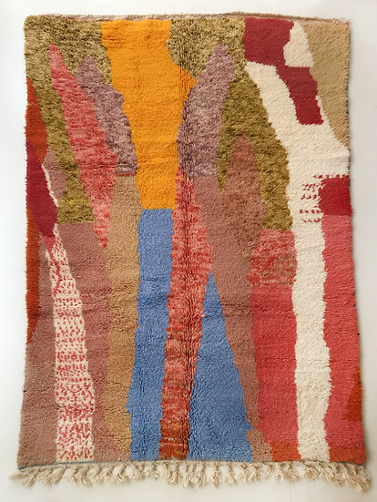 Tapis berbère Beni Ouarain à motifs colorés 2,50x1,60m