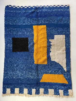 Tapis berbère Beni Ouarain bleu à motifs colorés 3,02x1,95m