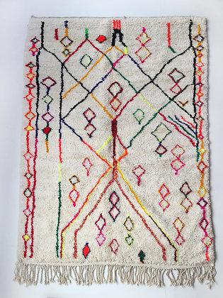 Tapis berbère Azilal à motifs colorés et fluo 2,98x1,93m