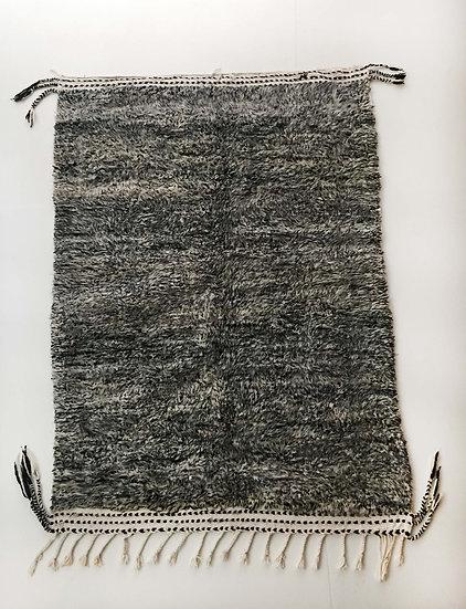Tapis berbère Beni Ouarain écru et gris chiné 2x1,38m