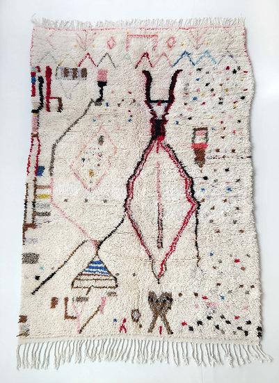 Tapis berbère Azilal écru à motifs colorés 2,43x1,58m