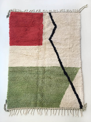 Tapis berbère Beni Ouarain à motifs colorés 2,43x1,65m