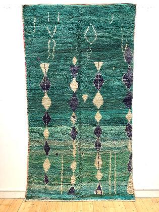 Tapis berbère Boujaadnuances turquoise, vert et bleu 2,62x1,46m