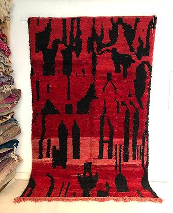 Tapis berbère Boujaad rouge et noir 2,98x1,94m