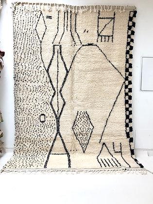 Tapis berbère Beni Ouarain à motifs noirs 3,08x2,14m