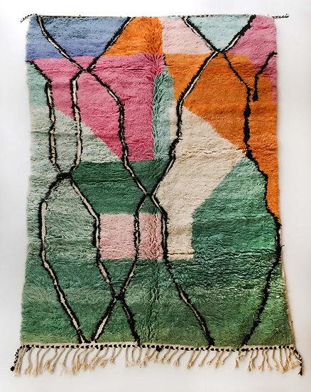 Tapis berbère Beni Ouarain à aplats colorés et motifs noirs gravés 2,87x1,87m