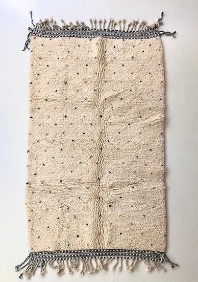 Tapis berbère Beni Ouarain à pois rose et gris 2,38x1,37m