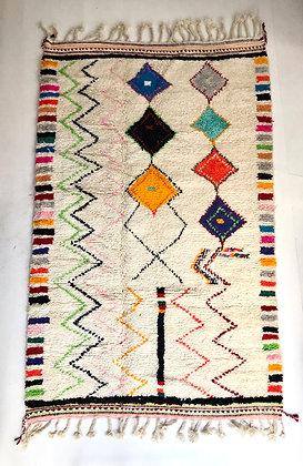 Tapis berbère Beni Ouarain écru à motifs colorés 2,59x1,58m