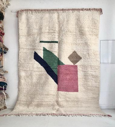 Tapis berbère Beni Ouarain à motifs colorés 3,07x2,14m