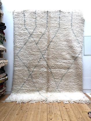 Tapis berbère Marmoucha écru à motifs graphiques gris clair 3,02x2,22m