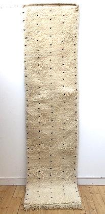 Tapis berbère Beni Ouarain à pois noirs 2,97x0,77m