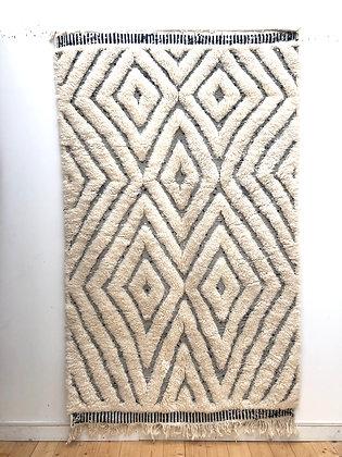 Tapis berbère Beni Ouarain à motifs graphiques gravés 2,49x1,54m