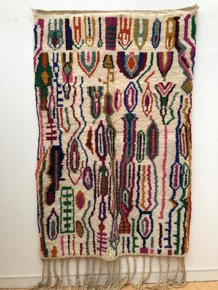 Tapis berbère Beni Ouarain à motifs colorés 2,37x1,52m