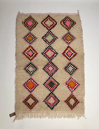 Tapis berbère Azilal à losanges colorés 1,43x0,98m