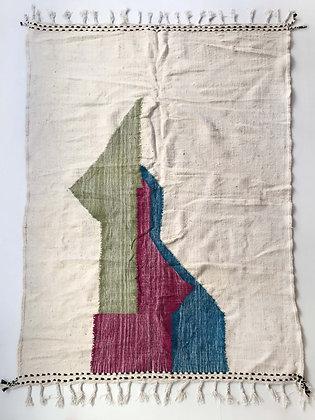 Kilim berbère écru et motifs colorés 2,78x1,96m