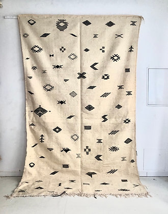 Kilim berbère marocain écru et noir 3,1x1,79m