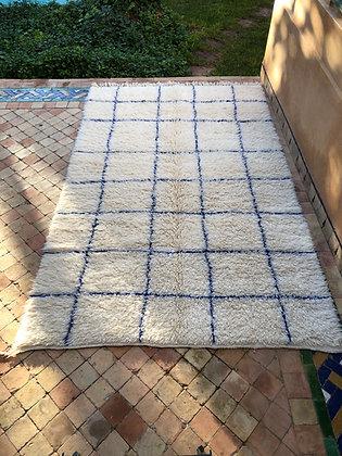 Beni Ouarain Marmoucha 2,4x1,5m carrés bleu majorelle