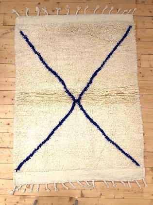 Tapis berbère Beni Ouarain à croix bleu majorelle 1,6x1,2m