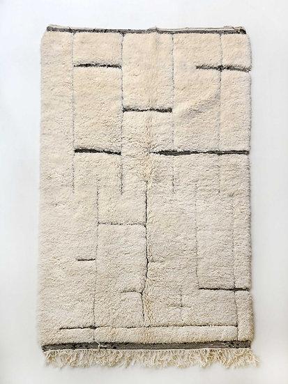 Tapis berbère Beni Ouarain à motifs géométriques dans la trame 2,63x1,66m