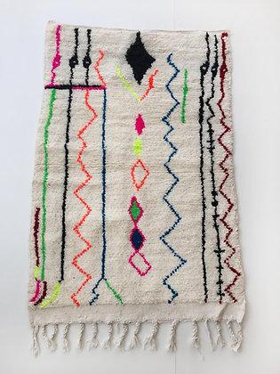 Tapis berbère Azilal à motifs colorés et fluo 1,50x1,03m