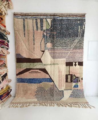 Tapis berbère Beni Ouarain écru à motifs et aplats colorés 2,98x2,20m