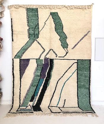 Tapis berbère Beni Ouarain à motifs colorés bleu 2,91x2,07m