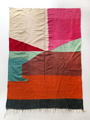 Kilim berbère écru à aplats colorés 2,92x1,89m