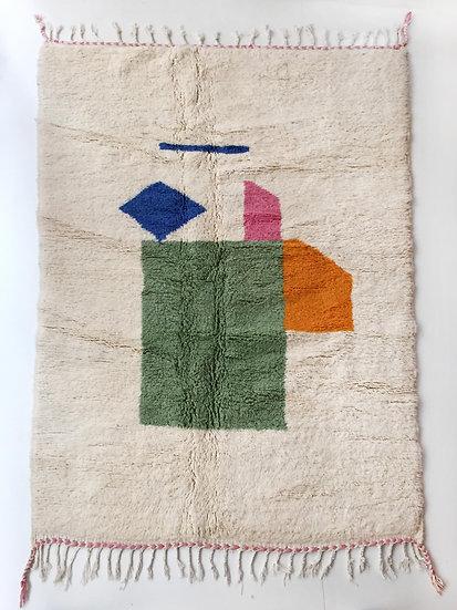 Tapis berbère Beni Ouarain écru à motifs colorés 2,55x1,68m