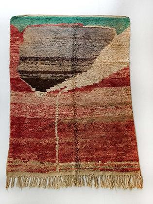 Tapis berbère Boujaad rouge à motifs colorés 2,53x1,70m