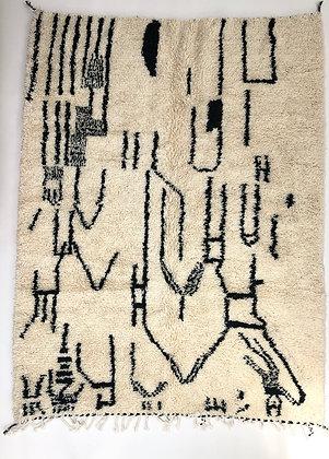 Tapis berbère Azilal à motifs graphiques noirs 2,36x1,87m