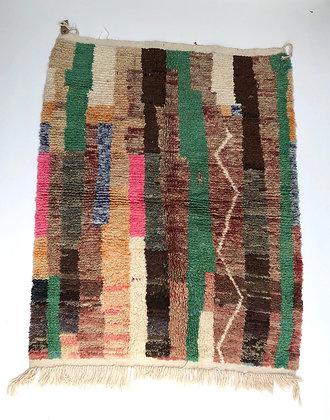 Tapis bebrère marocain Boujaad à aplats colorés 1,7x1,35m