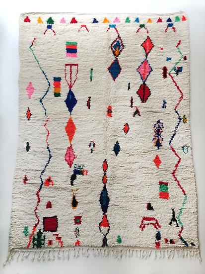 Tapis berbère Azilal écru à petits motifs colorés 3x1,98m