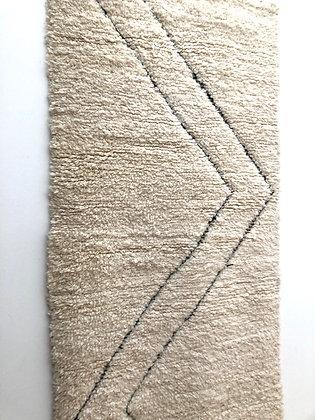 Tapis berbère Beni Ouarain à lignes gravées dans la trame 2,93x0,94m