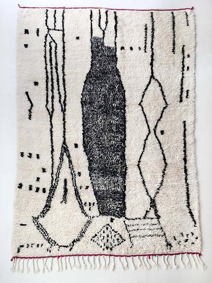 Tapis berbère Azilal écru à motifs noirs 3,02x1,86m