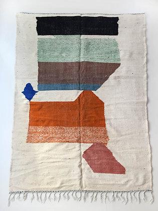 Kilim berbère écru et motifs colorés 2,83x1,87m