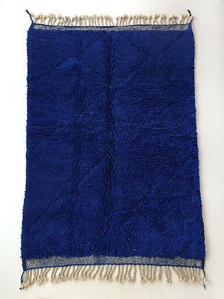 Tapis berbère Beni Ouarain bleu majorelle à losanges 2,46x1,60m
