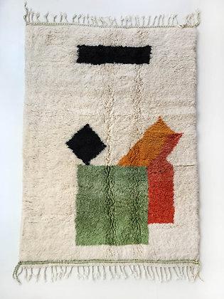 Tapis berbère Beni Ouarain à motifs colorés 2,45x1,54m