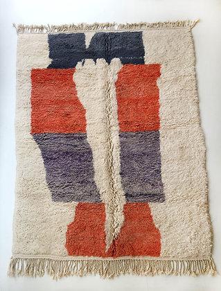 Tapis berbère Beni Ouarain écru à motifs colorés 2,77x2,15m