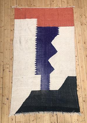 Kilim berbère écru, orange, gris et violet 2,32x1,38m