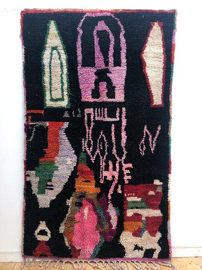 Tapis berbère Boujaad fond noir et motifs colorés 2,61x1,56m