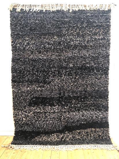 Tapis berbère Beni Ouarain chiné noir 2,91x1,93m