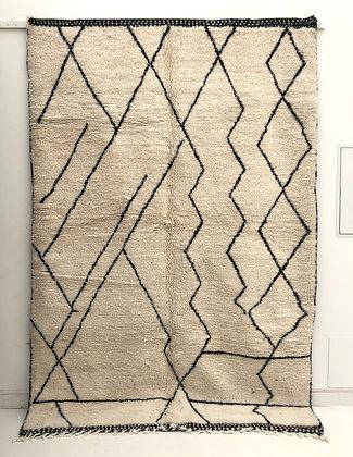 Tapis berbère Beni Ouarain à motifs graphiques noirs 2,87x1,94m