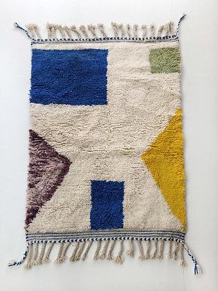 Tapis berbère Beni Ouarain écru à motifs colorés 1,54x1,05m