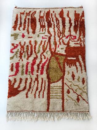 Tapis berbère Beni Ouarain à motifs colorés 2,45x1,57m