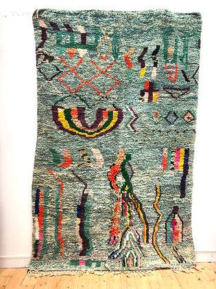 Tapis berbère Boujaad moucheté menthe et blanc à motifs colorés 2,65x1,65m
