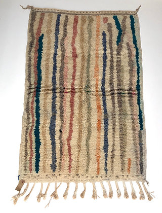 Tapis berbère Boujaad à lignes colorées pastels 1,57x1,1m
