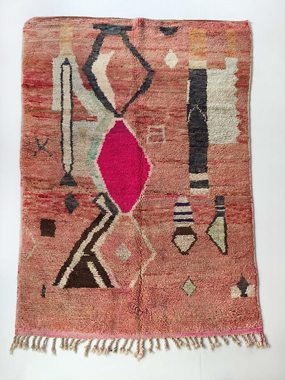 Tapis berbère Boujaad rose à motifs colorés 2,59x1,57m