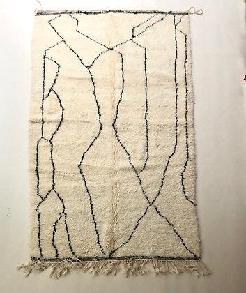 Tapis berbère Beni Ouarain à motifs graphiques noirs 2,51x1,58m