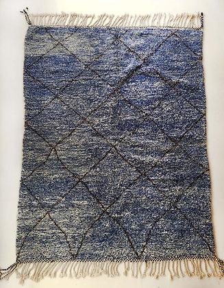 Tapis berbère Beni Ouarain chiné bleu et écru à losanges bruns 2,89x2,11m